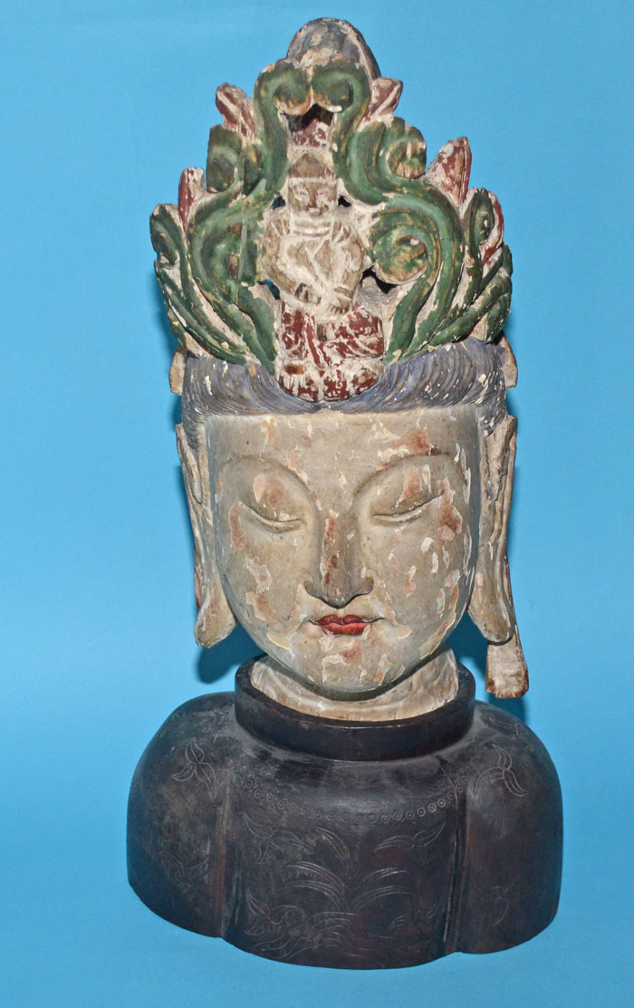 Early Carved Wood Chinese Quan Yin Bust on Stand