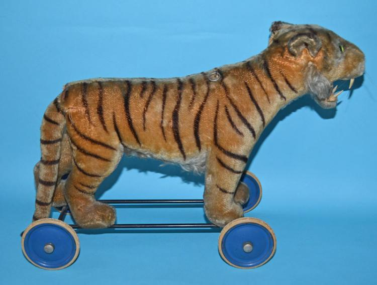 Antique Steiff Riding Tiger Growler Pull Toy