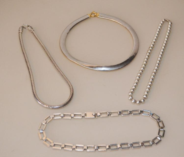 Group Of Impressive And Heavy Sterling Necklaces