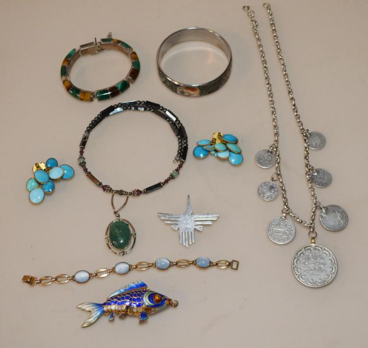 Lot Of Unusual  Vintage  Jewelry ( Sterling, Enamel , MOP )
