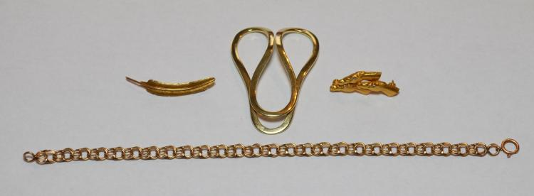 14k Gold Scarf Clip & Earrings