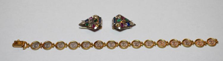 Gold Shoe Clips w Diamonds & 14k Gold Bracelet
