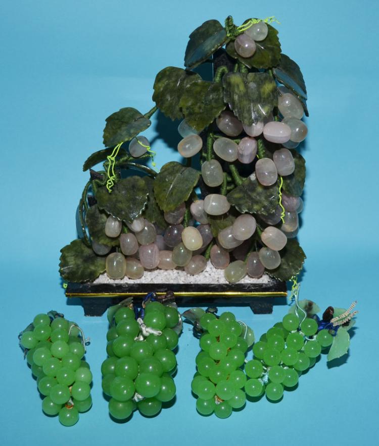 Carved Vintage Quartz & Jade Grape Tree