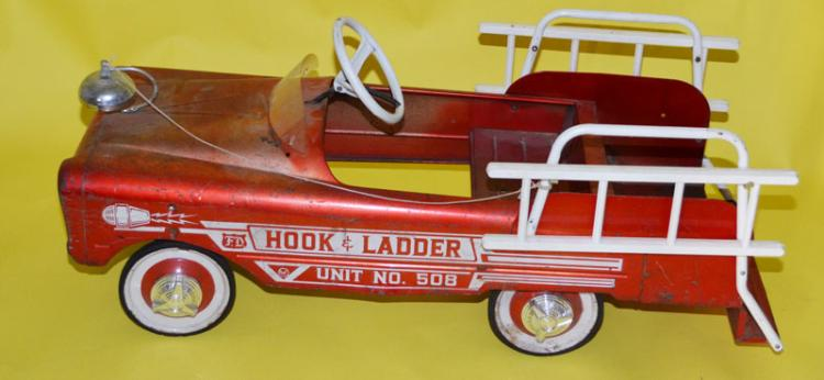 Adorable Vintage Red Fire Truck Pedal Car