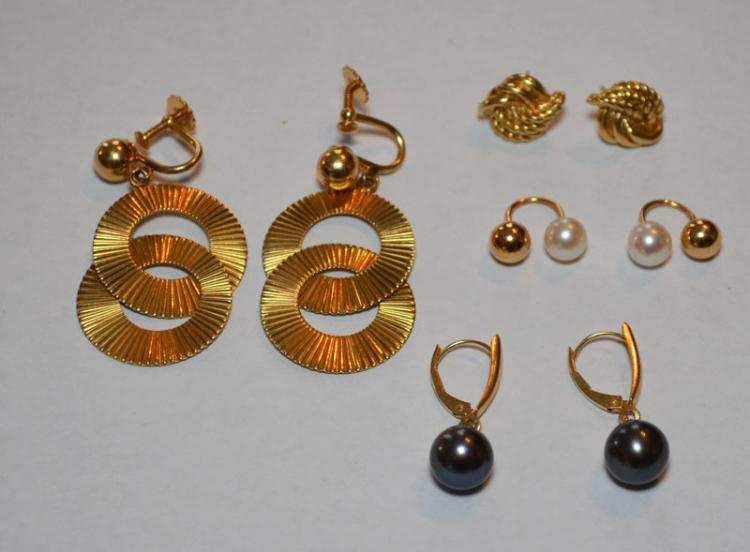 14k Gold Jewelry Featuring Earrings (Pearl, etc)