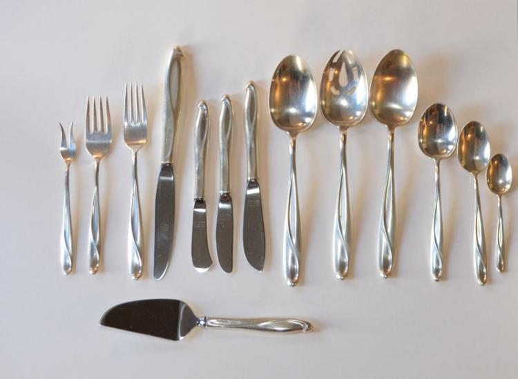 77 Pcs Reed & Barton Silver Sculpture Sterling Silver flatware