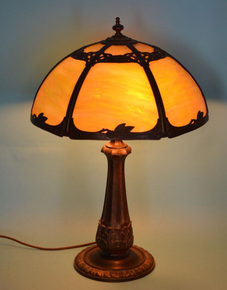 Vintage Lamp with Green Slag Glass Shade