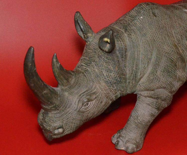 Substantial Vintage Bronze Charging Rhinoceros
