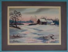 James Camlin Signed Winter Farm Watercolor