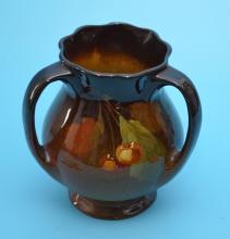 Vintage Owens Utopian Cherry Pottery Vase