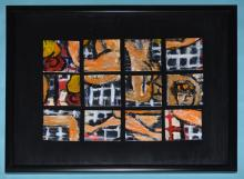 Paul Burgess Signed Gouache Rearrangable Painting