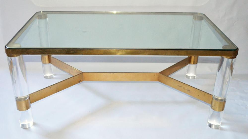 Lot 140: Karl Springer Brass, Lucite Signed Coffee Table