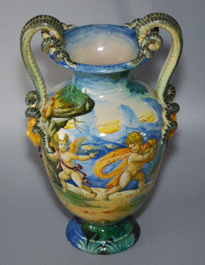 Vintage Figural Snake Italian Cantagalli 2 Handled Vase