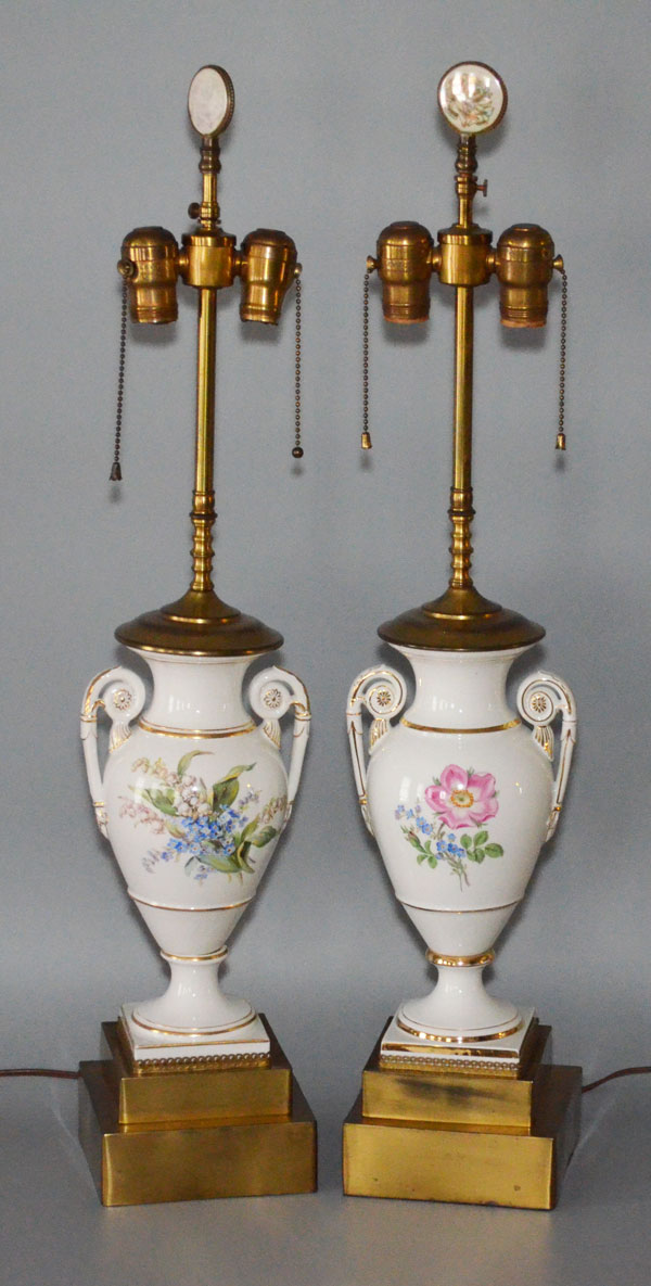 Pair of Porcelain Painted Lamps, Likely Meissen