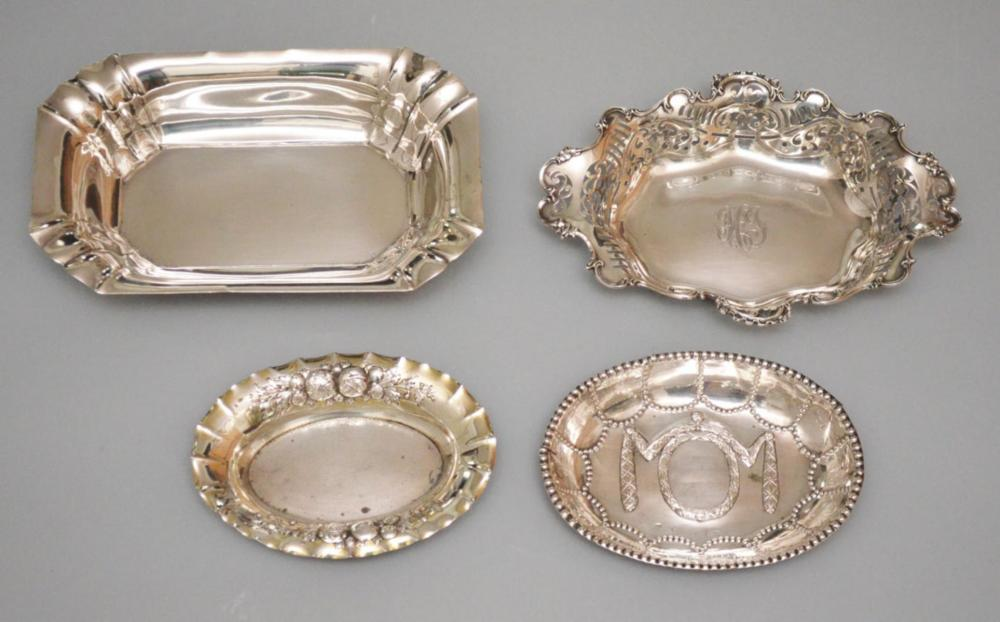 4 Nice 800 & 925 sterling Silver Fancy Serving Dishes