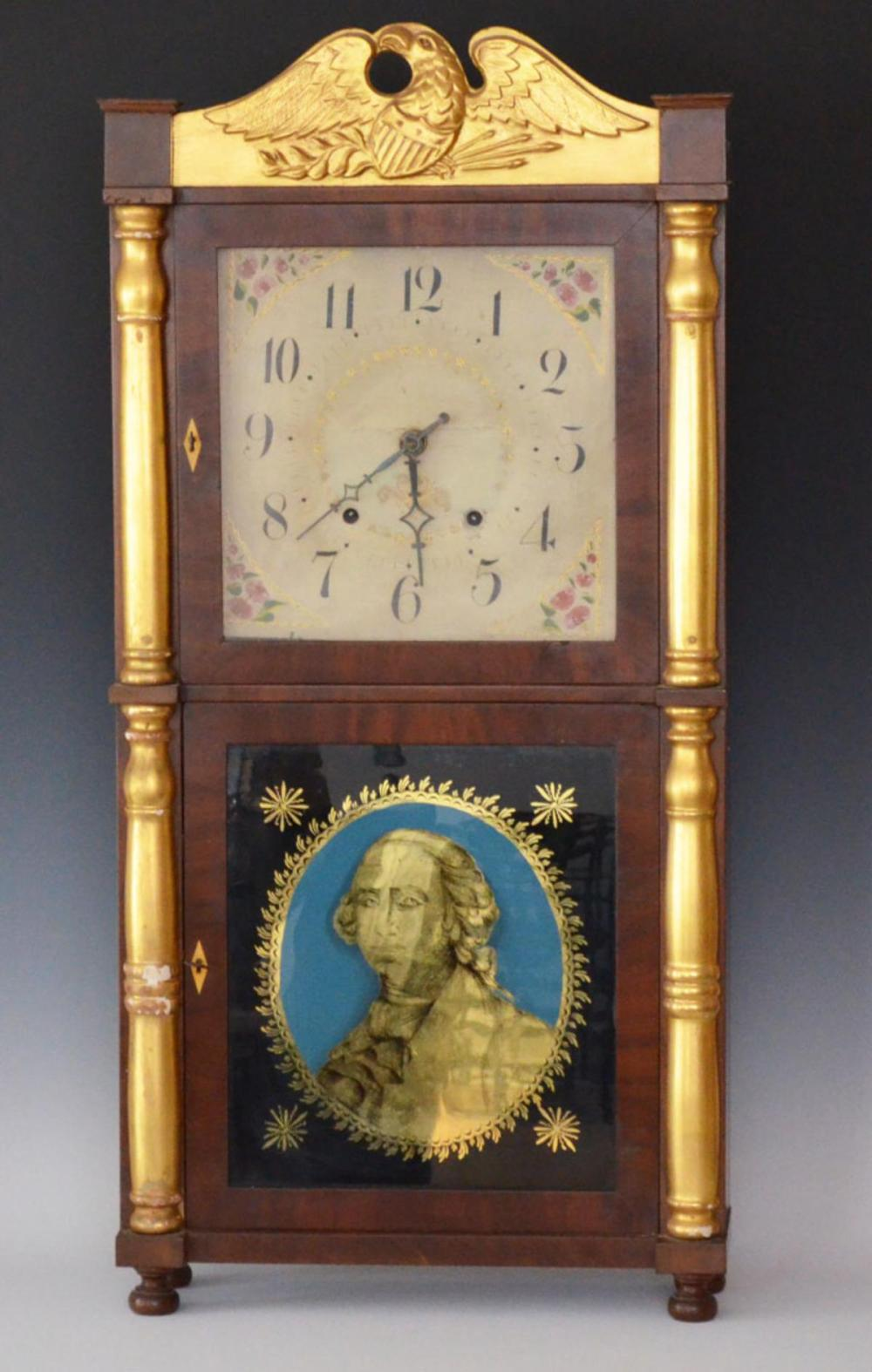 Ely Terry Clock with Reverse Painted George Washington