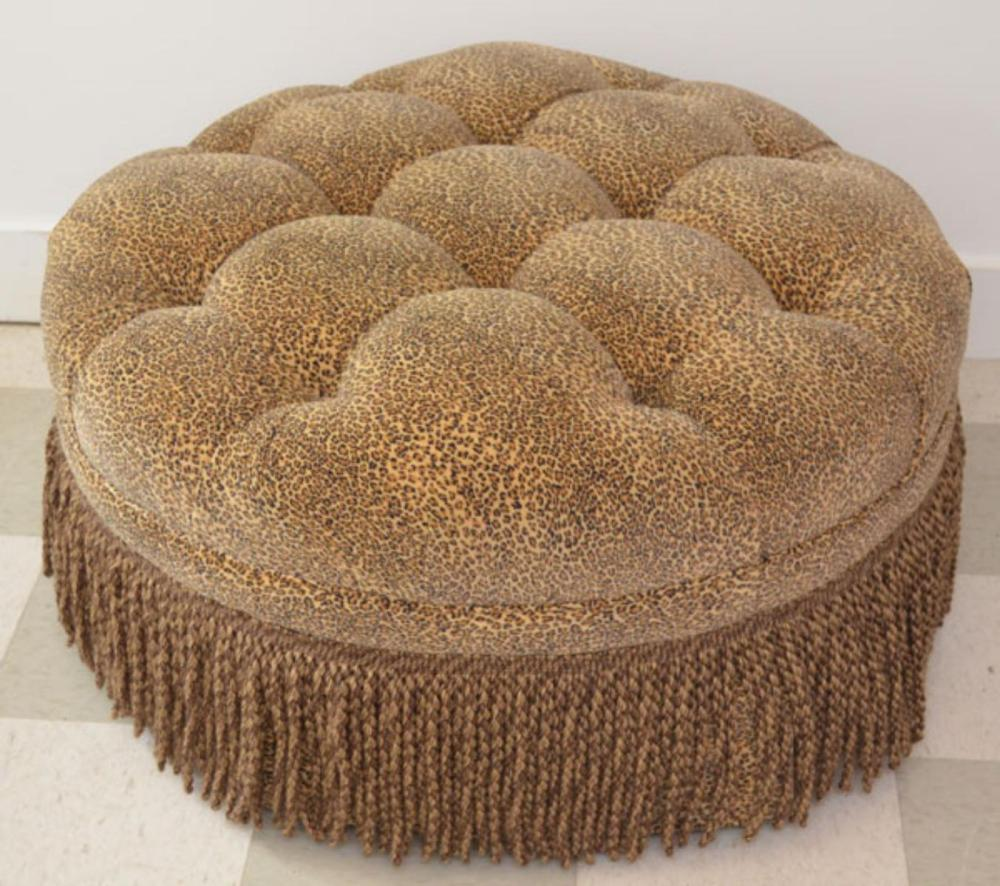 Great Tufted Leopard Upholstered Ottoman