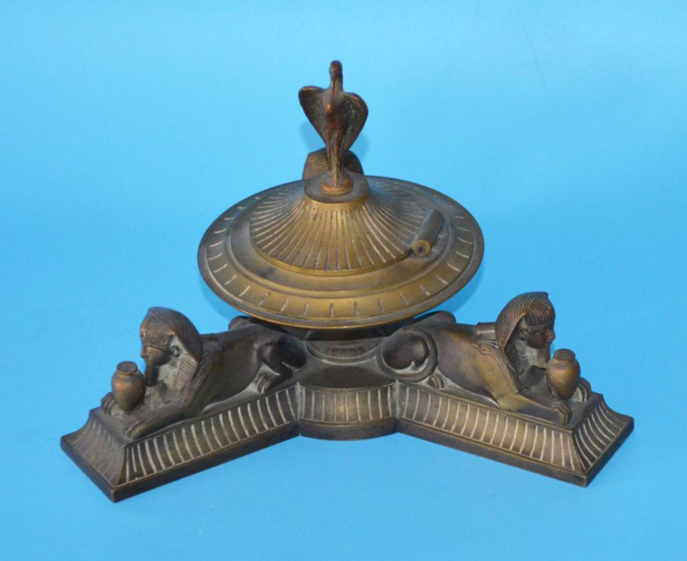 Grand Tour Bronze Inkwell With Sphinx & Ibis