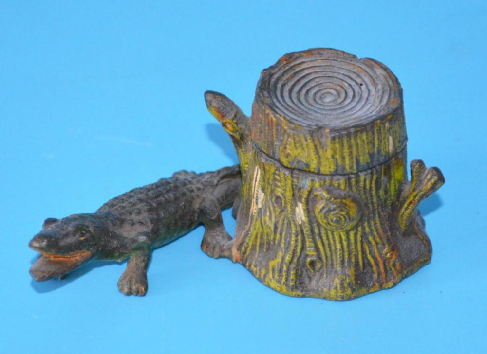 Antique Alligator By Tree Stump Inkwell