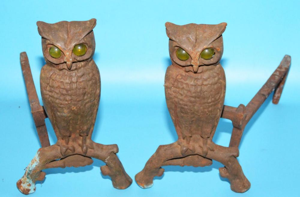 Interesting Cast Iron Owl Andirons With Glass Eyes