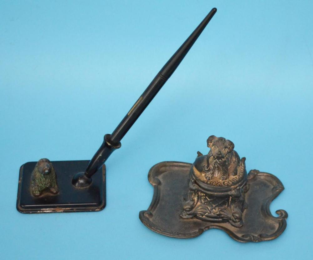 Antique Figural Dog Inkwell And Pen Holder