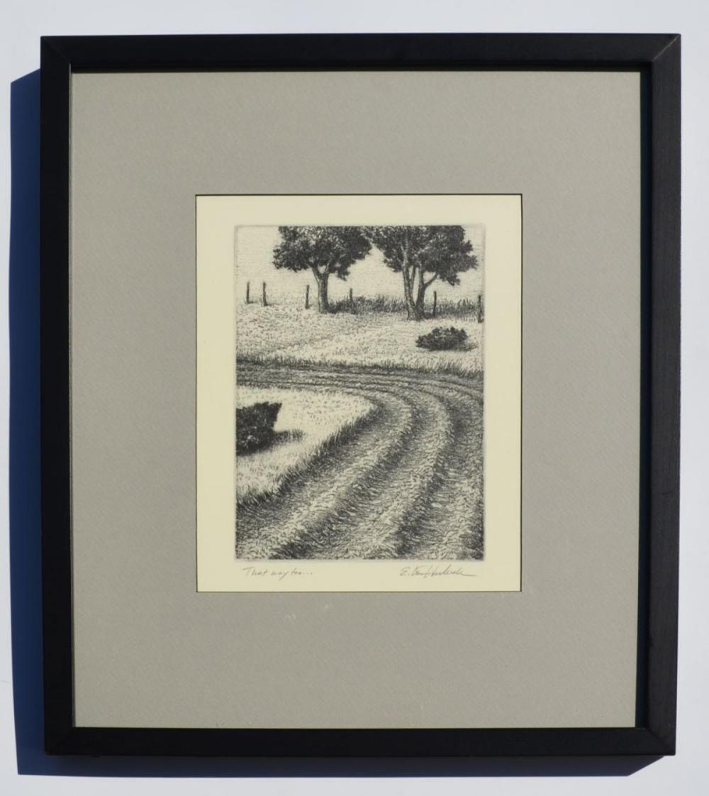 Wonderful Etching Country Scene Illegibly Signed