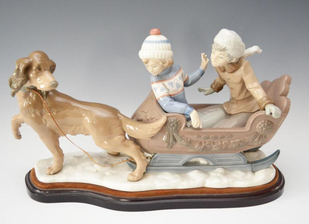 Large Lladro Porcelain Sleigh Ride Statue