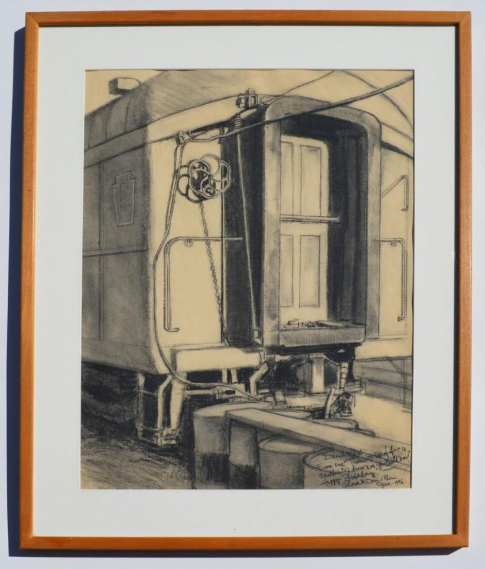 Signed Train Caboose Charcoal Drawing