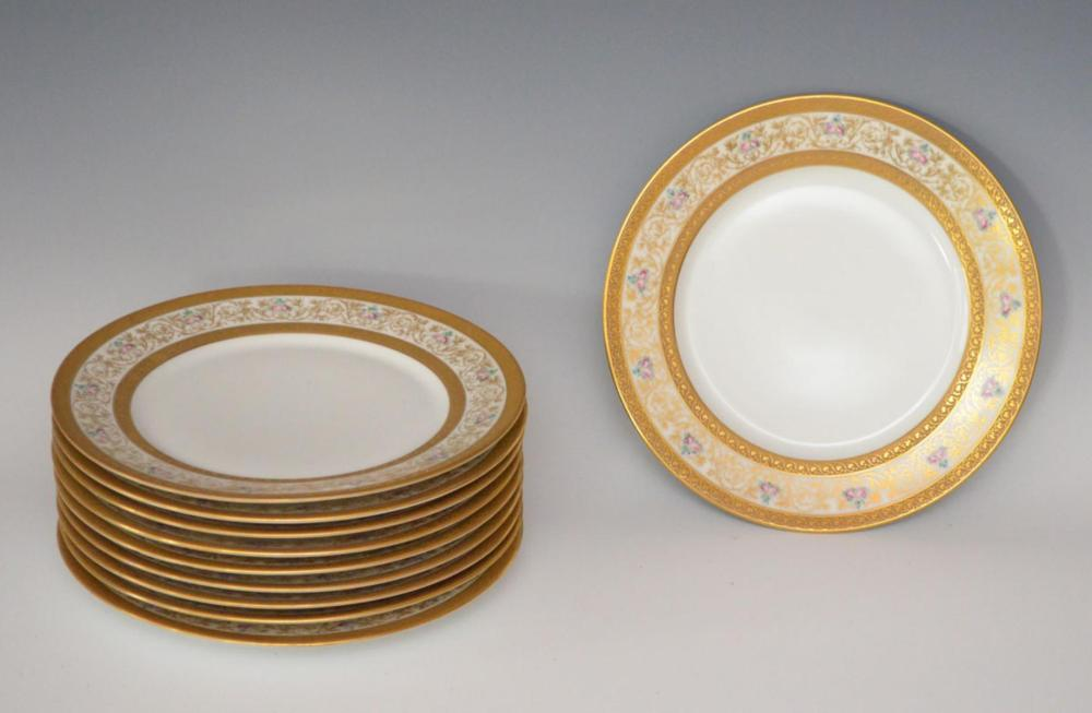 Lot of 10 Guerrin Gold Limoges Plates