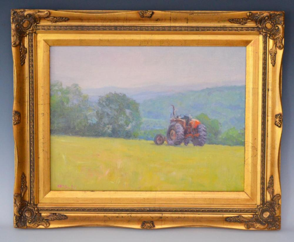O/B of Tractor Farm Scene Signed Mosley