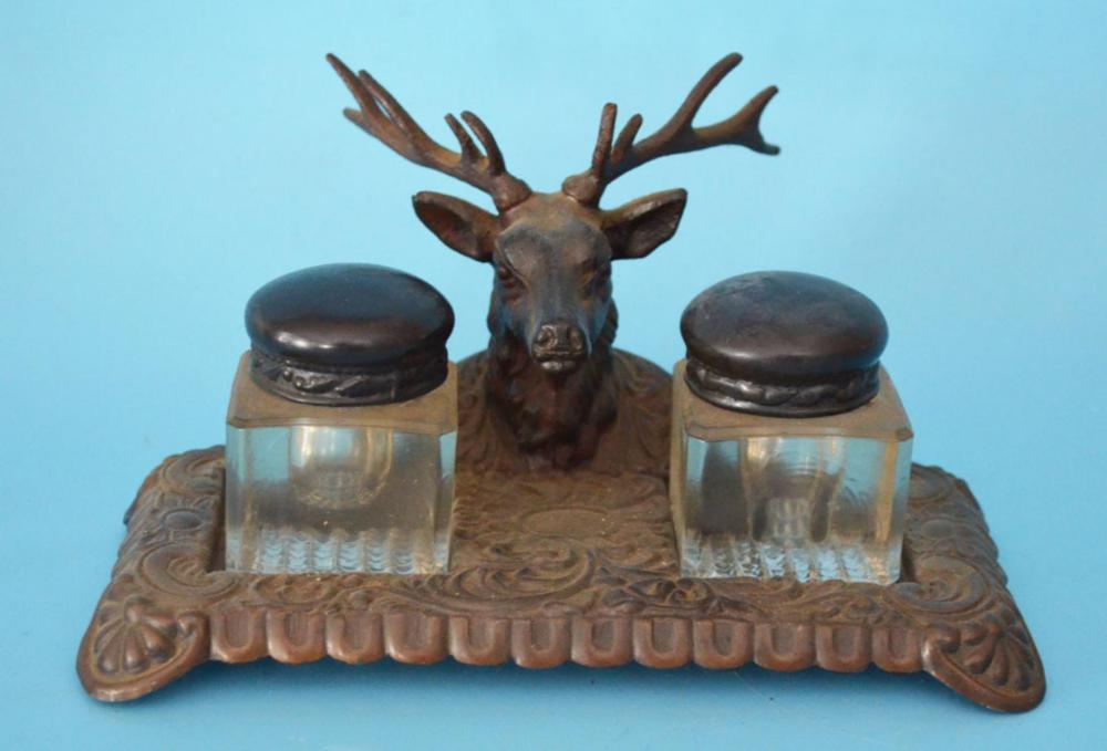 Antique Figural Stag Inkwell