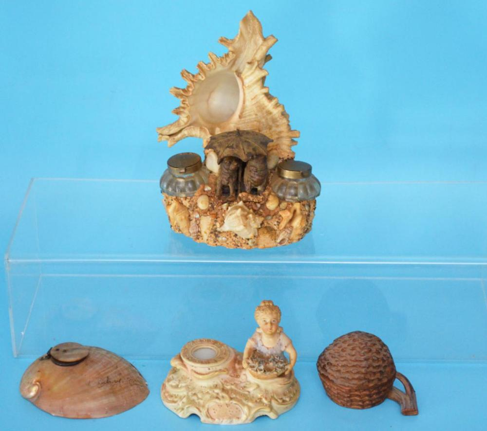 Collection of Antique Shell Inkwells
