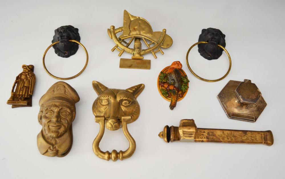 Lot Of 9 Figural Doorknockers And Inkwell
