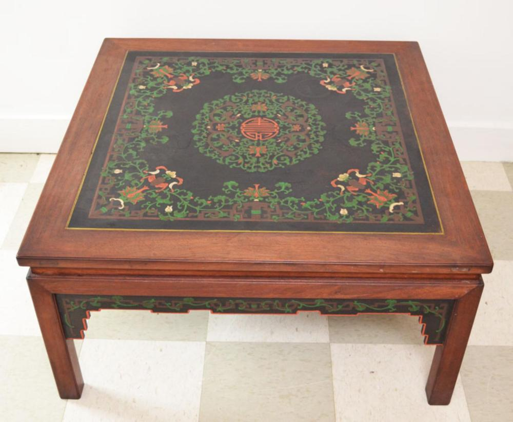 Chinese Painted Rosewood Coffee Table