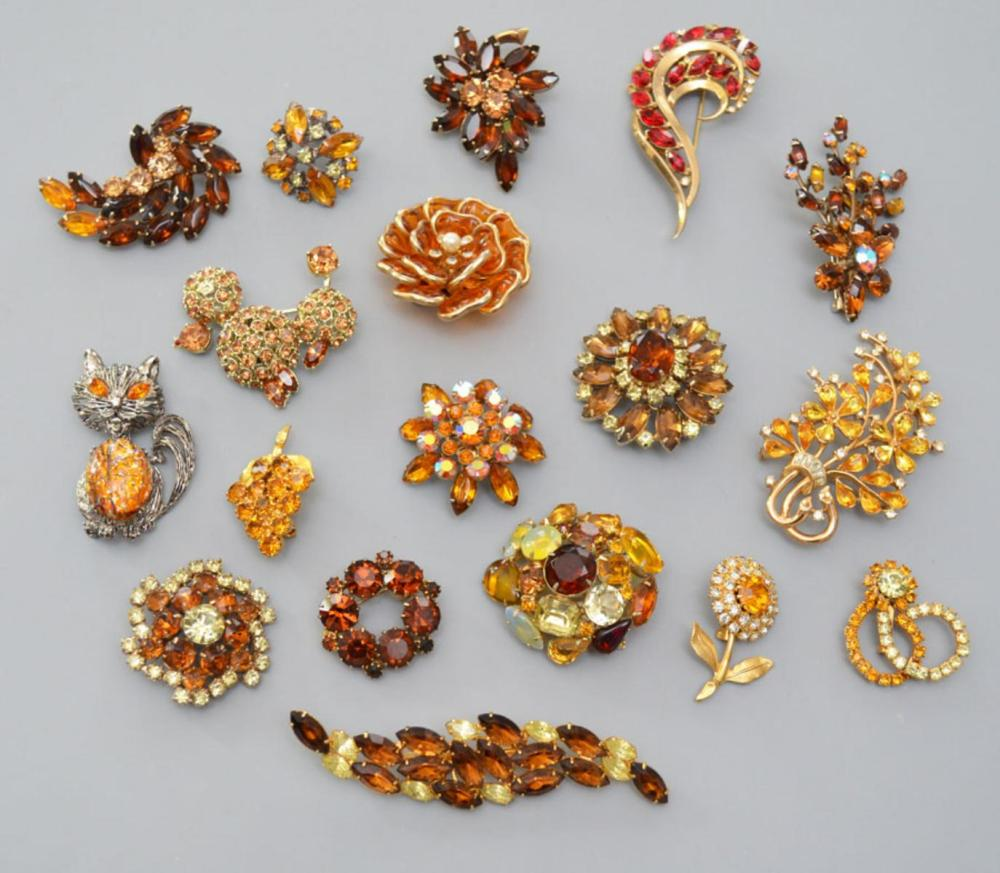 Tour de Force of Vintage Amber Tone Jewelry