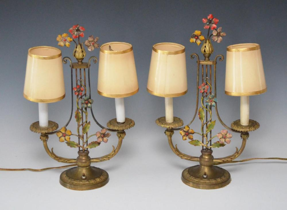 Pair of Lyre Shape Floral Lamps