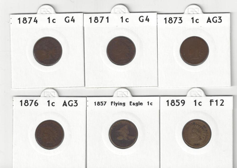 Lot of 6 American Indian Head Pennies