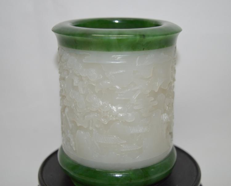 Craved Hetianyu Jade Brush Pot