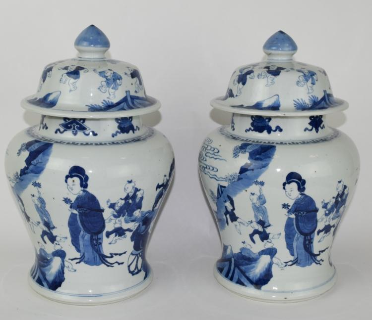 A Pair Chinese Blue and White Jar.