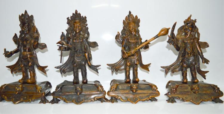 Four Purple Bronze Guardian Kings Statue