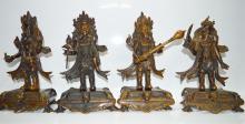 Four Purple Bronze Guardian Kings Statue