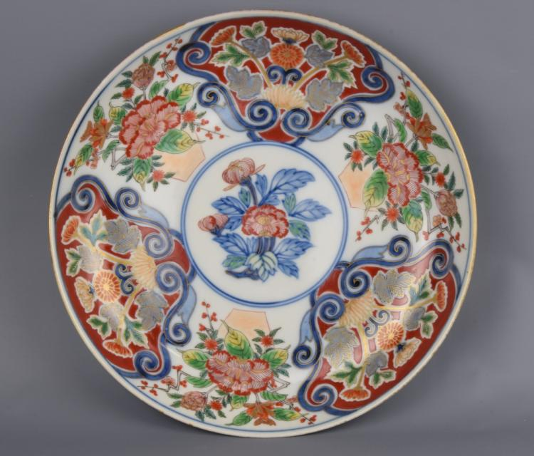 Chinese Blue and White Wucai Plate