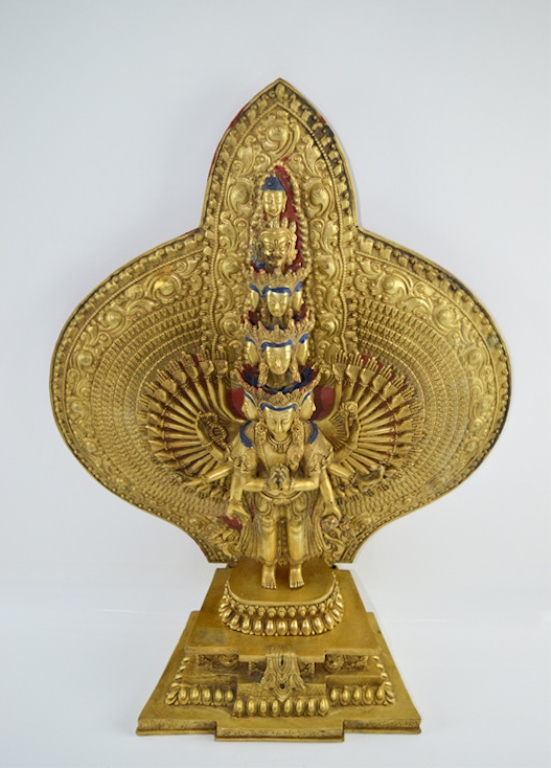 Chinese Gilt Bronze Thousand Hand Guanyin