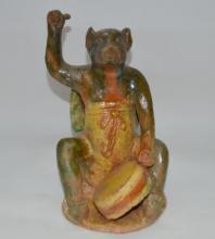 Tri-color Porcelain Beast Statue