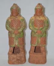 Two  Ancient Tri-Color Ceramic Figure Statue