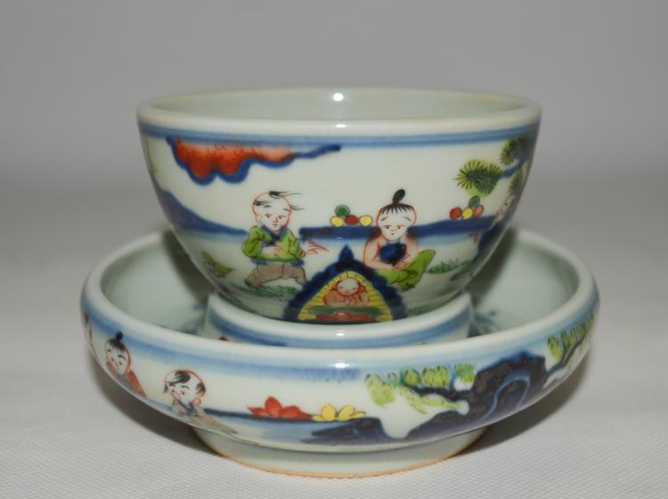 Chinese Blue and White Porcelain Teacup and Plate