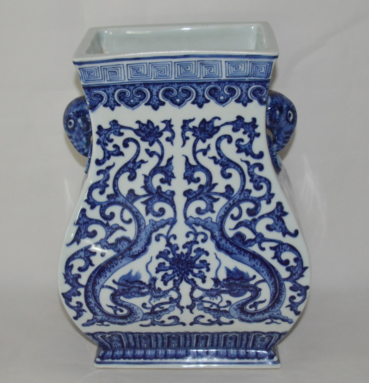 Chinese Blue and White Rectangle Vase