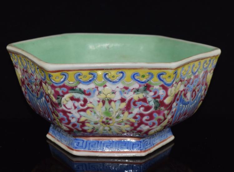 Famille Rose Hexagon shaped Porcelain Bowl