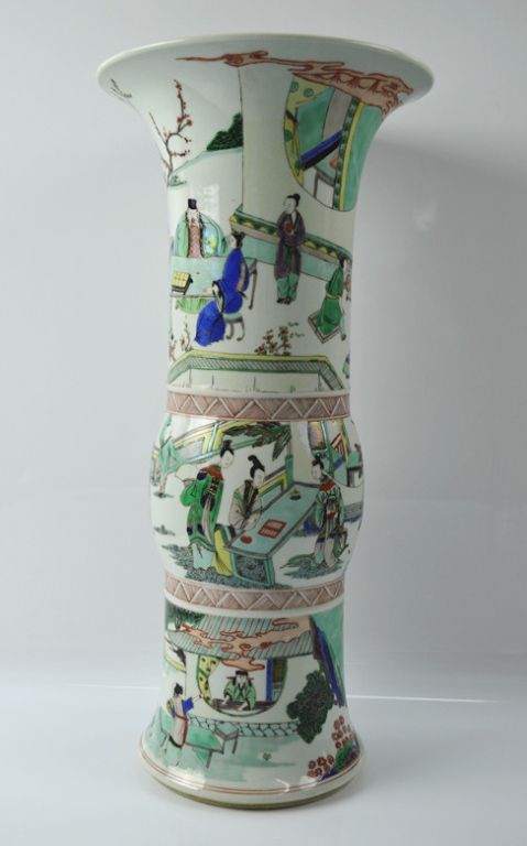 Chinese wucai 'Gu' Shaped Vase
