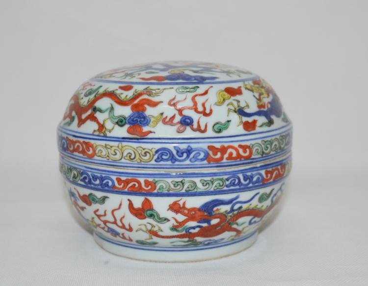 Chinese Blue and White Wucai Porcelain Makeup Box